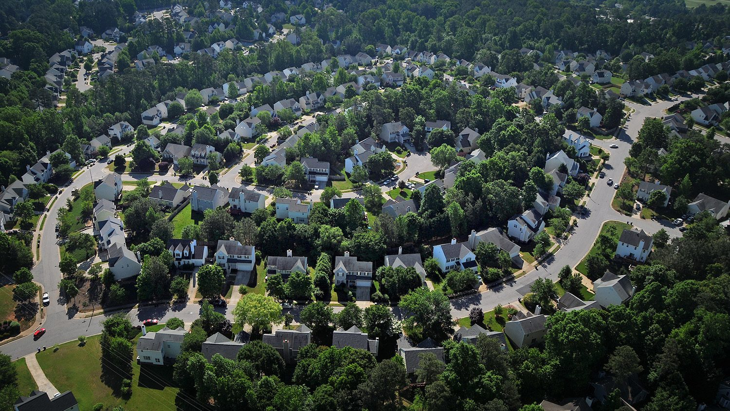 Aerial view of neighborhood homes in the southern part of Raleigh.