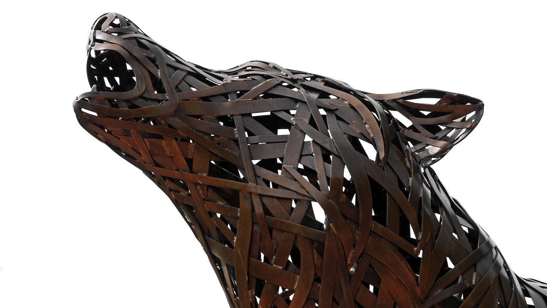 copper wolf statue