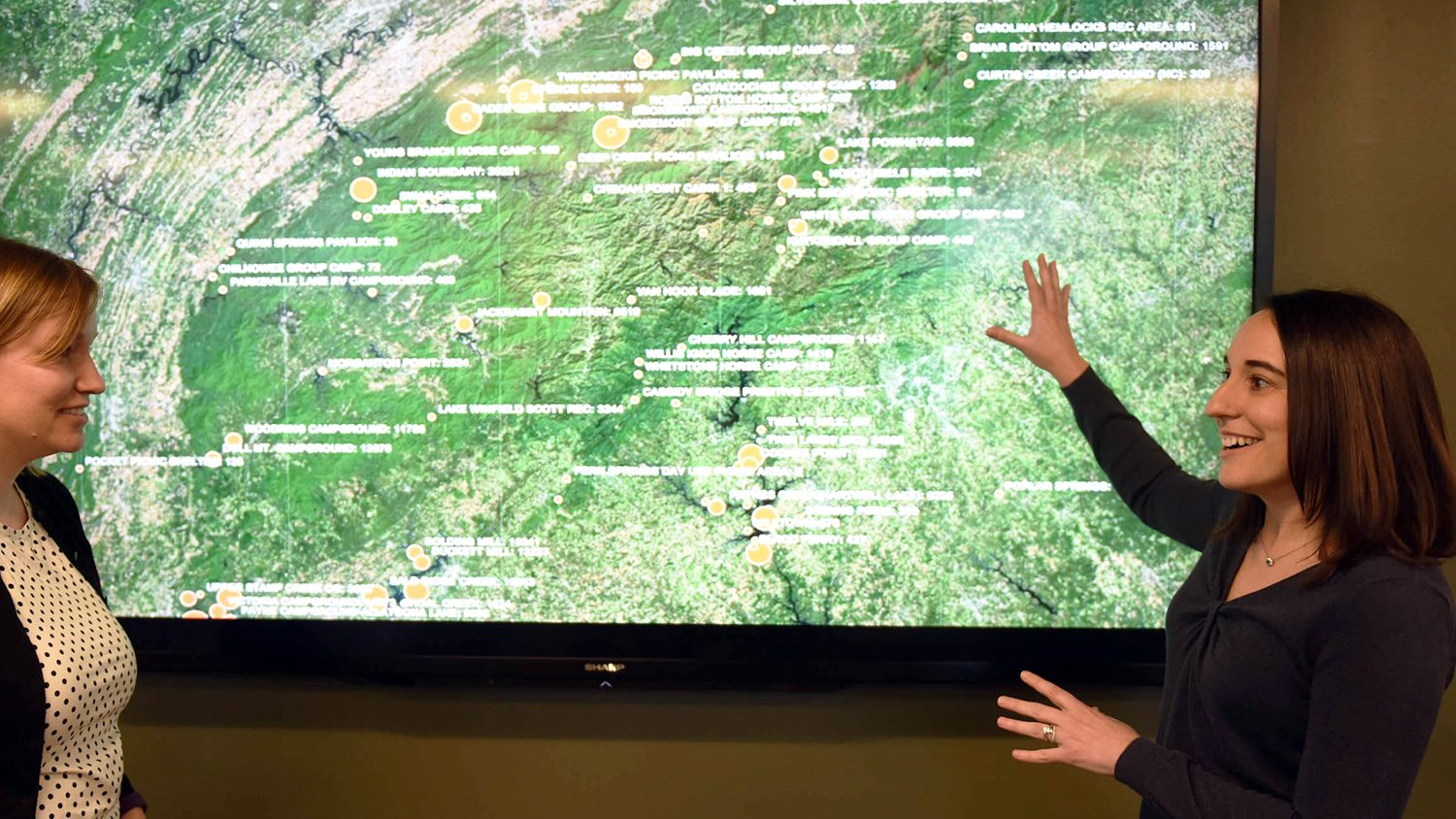 Stacy Supak explains a map from her research